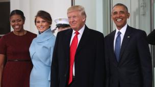 Donald and Melania Trump and Barack and Michelle Obama