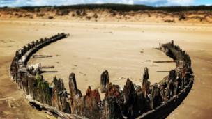Wreck at Cefn Sidan beach, Pembrey, Carmarthenshire