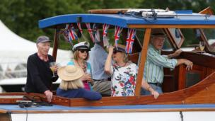 A terribly British tradition. Visitors on the second day of the Henley Royal Regatta.