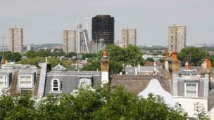 The burned shell of Grenfell Tower block on the London skyline