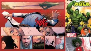 Scenes from Civil War II (left and bottom right) and the cover of The Totally Awesome Hulk