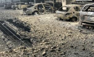 سيارات محترقة