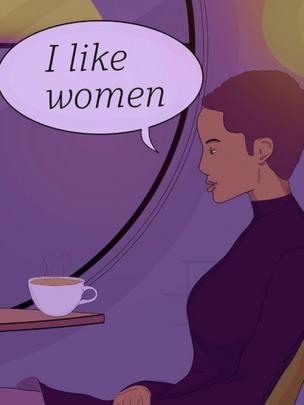 """Ilustración de una mujer diciendo """"Me gustan las mujeres""""."""