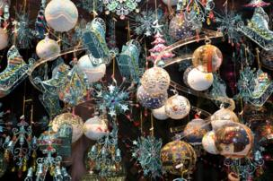 Lots of Christmas baubles