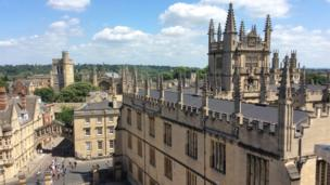The Bodleian Library as seen from the cupola of the Sheldonian Theatre