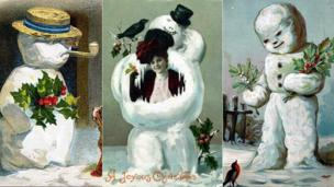 Victorian Christmas card with snowmen