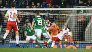Northern Ireland playing against Switzerland at Windsor Park