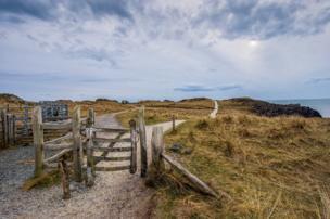 Ynys Llanddwyn coast path gate