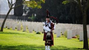 A bagpiper performs in Israel