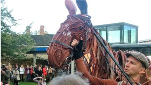 War Horse at the opening of Cotswold Hare Trail in Woodstock Museum.