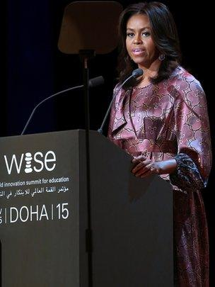 US first lady Michelle Obama delivers a speech during the World Innovation Summit for Education (WISE) held the convention centre in the Qatari capital Doha on November 4, 2015