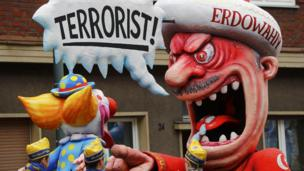 Float mocking President Recep Tayyip Erdogan