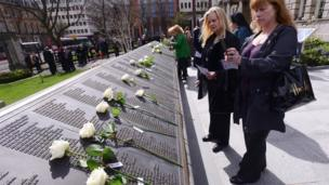 A ceremony marking the 103rd anniversary of the sinking of the Titanic took place at the Belfast City Hall Titanic Memorial Garden.