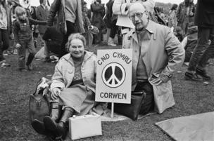 Protesters from north Wales at a CND rally in Hyde Park, London in 1981