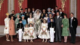 The Royal Wedding Group at the wedding of Prince Charles and Lady Diana Spencer in the Throne Room at Buckingham Palace.