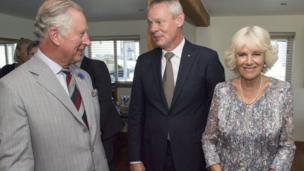 Prince Charles, Martin Clunes and and Camilla, Duchess of Cornwall