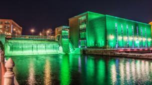 Tammerkoski Rapids in Tampere, Finland