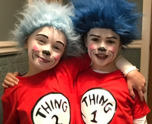 Children dressed up as Thing One and Thing Two for World Book Day