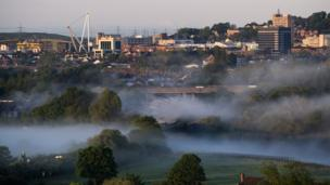 Morning mist across Newport