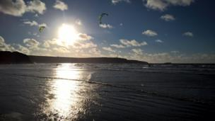 Kite surfers on Broadhaven beach, Pembrokeshire