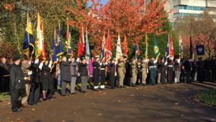 A service in Bute Park, Cardiff, for Remembrance Sunday