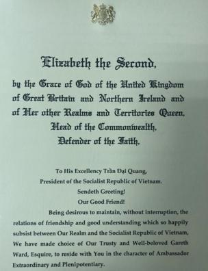 Trang 1 Quốc thư của Nữ hoàng Anh Elizabeth Đệ nhị