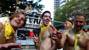 Enjoying the Sydney Gay and Lesbian Mardi Gras Parade, 3 March 2018