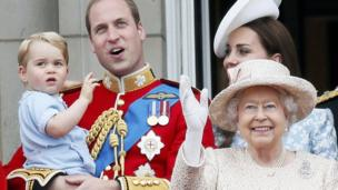 George, Prince William, Kate, the Queen and Prince Harry watch from the balcony