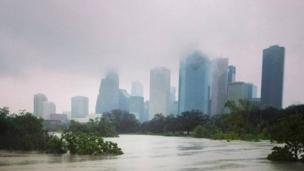 Mist covers central Houston after Hurricane Harvey inundated the Texas Gulf coast with rain and caused widespread flooding (27 August 2017)