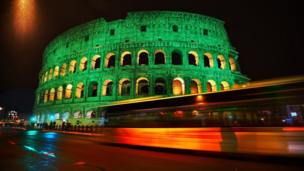 The Colosseum in Rome looked resplendent in green
