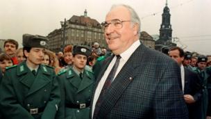 Helmut Kohl smiles during a visit to Dresden, 18 December 1989