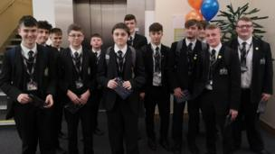 A group of Young Reporters prepare to enter the fray as the Festival of News day kicks off in BBC Northern Ireland