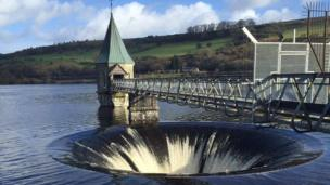 Hayely Howells took this photograph of the Pontsticill Reservoir in Powys overflowing