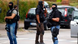 French special police near suspect's house