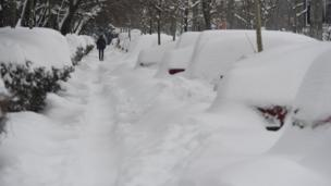 रोमानिया में बर्फ़बारी