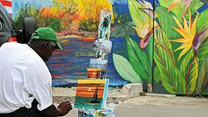 Painter in Bahamas