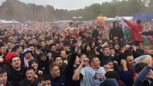 Supporters at Cardiff fan zone
