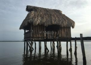 A shack out over the sea