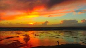 Sunset at Aberavon beach