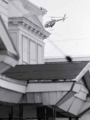 Helicóptero en el cielo de Filadelfia en 1985