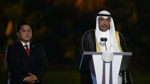 President of the Olympic Council of Asia (OCA) Sheikh Ahmad al-Fahad al-Sabah delivers a speech next to Indonesia's Vice President Jusuf Kalla