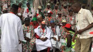 Shugaban Riko na jam'iyyar PDP Ahmad Mohammed Makarfi yayin babban taron jam'iyyar wanda a yi a Abuja ranar Asabar