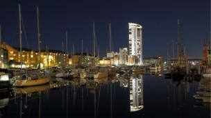 Swansea Marina on a cold, still night by John Minopoli
