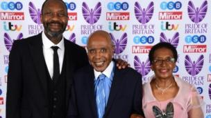 Paul Stephenson receives his Lifetime Achievement award from Sir Lenny Henry