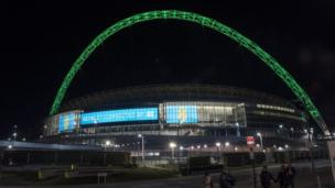 London's Wembley Stadium lit in the Chapecoense's team colour