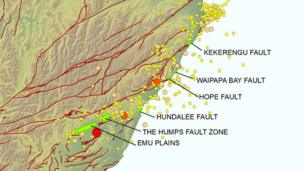 A map by GeoNet showing the fault ruptures after the earthquakes
