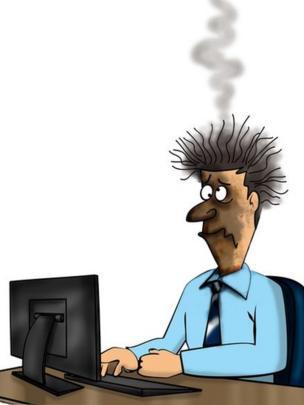 Una caricatura de un hombre con el rostro quemado y la cabeza echando humo, sentado frente a su computadora