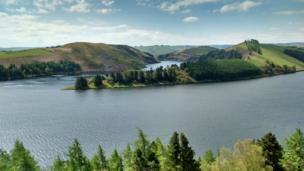Llyn Clywedog reservoir near Llanidloes in Powys.