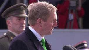 Acting Taoiseach (Irish prime minister) Enda Kenny addressed the crowd outside the GPO in Dublin