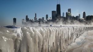 Vista de Chicago congelado